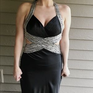 BLACK WITH GEMSTONES PROM FLOOR LENGTH GOWN